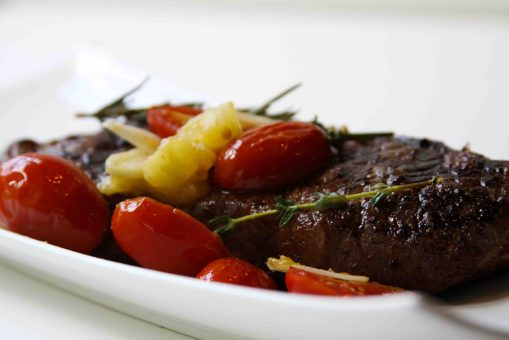 Strip Steak with Heirloom & Grape Tomato Sauce