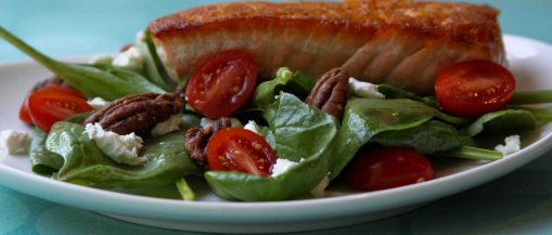 Spinach Salad with Sauteed Salmon (photo by hzaida)